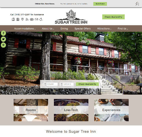 Screenshot of home page for Sugar Tree Inn