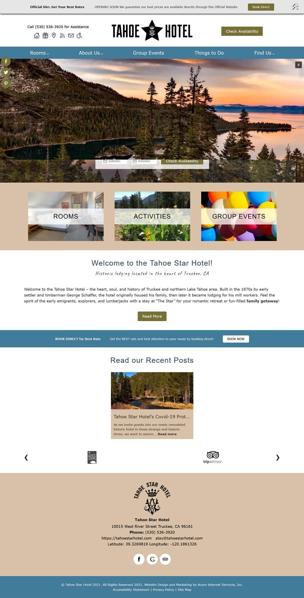 Home page for Tahoe Star Hotel