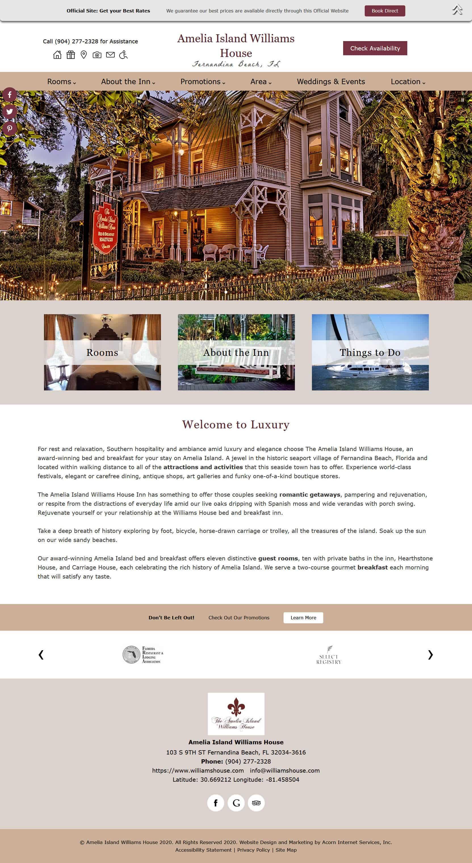 Amelia Island Williams House - new standard design website by Acorn IS