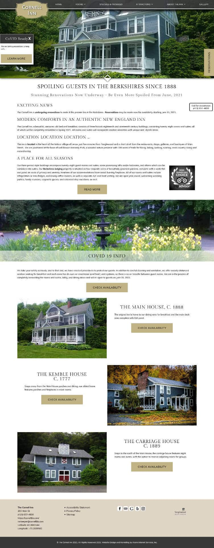 Home page screen shot of The Cornell Inn