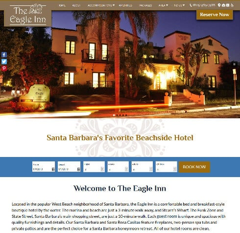 Screen capture of The Eagle Inn- Deluxe website