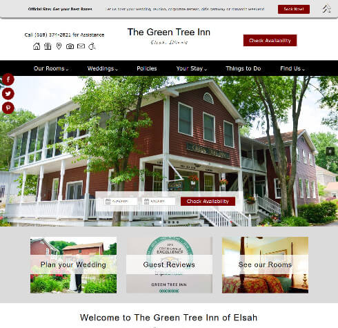 Screenshot of The GreenTree Inn of Elsah website