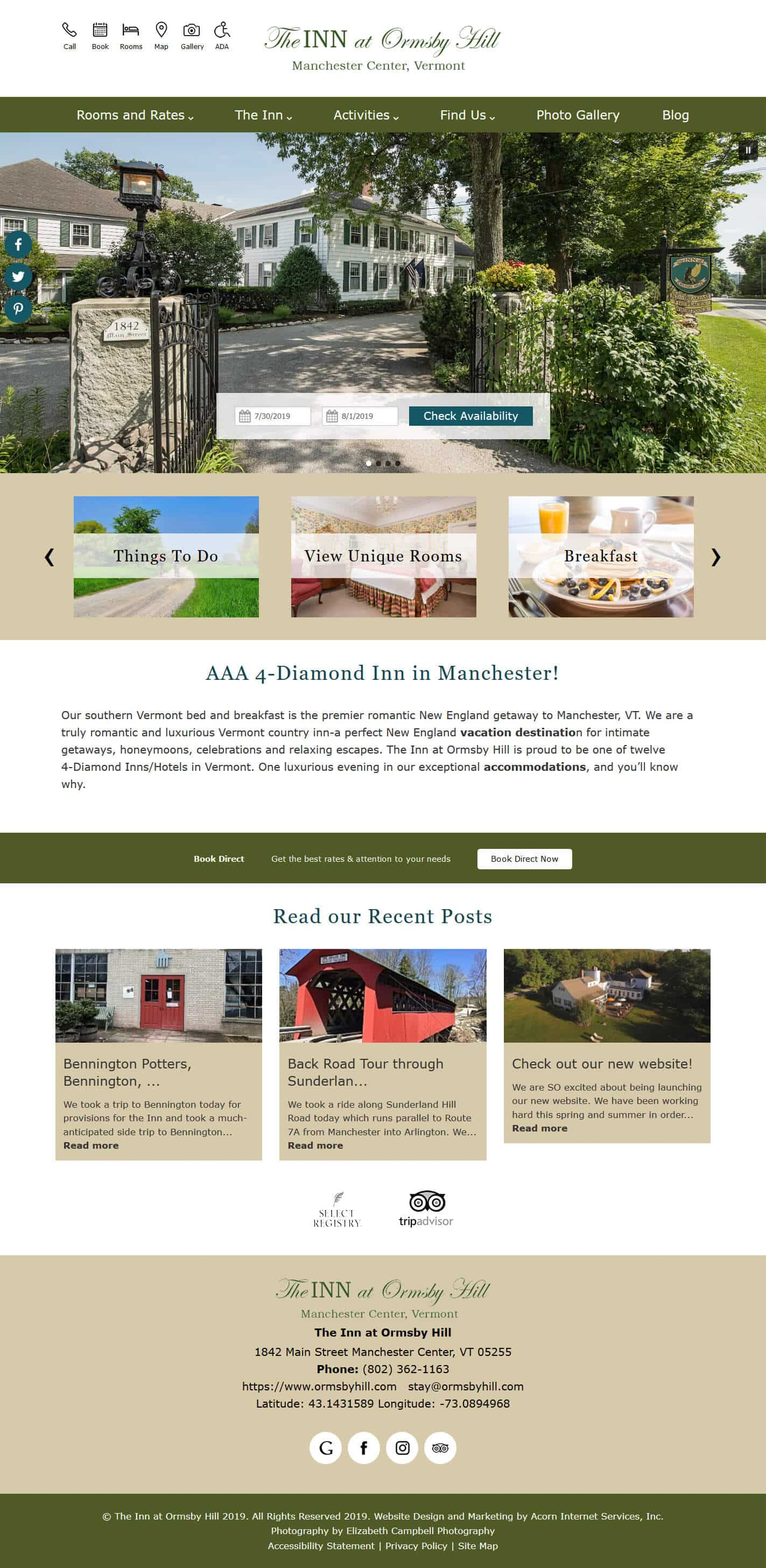 The Inn at Ormsby Hill home page
