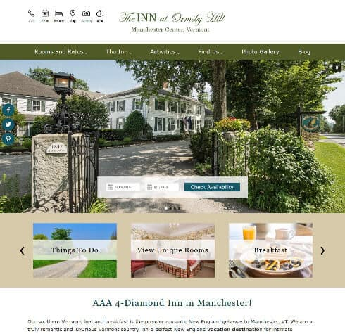 The Inn at Ormsby Hill - Standard website by Acorn Internet Services - Screenshot