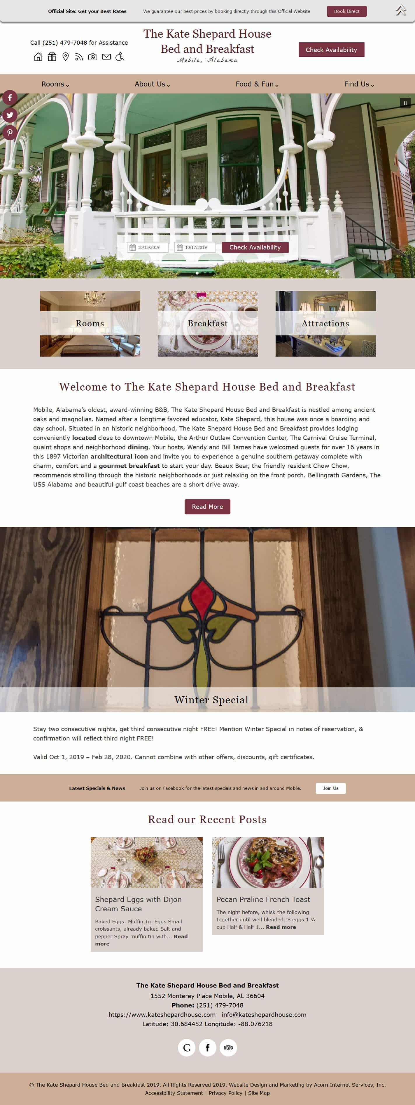 Home page screenshot of The Kate Shepard House - standard