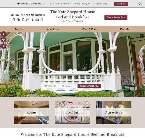 Screenshot of home page for The Kate Shepard House