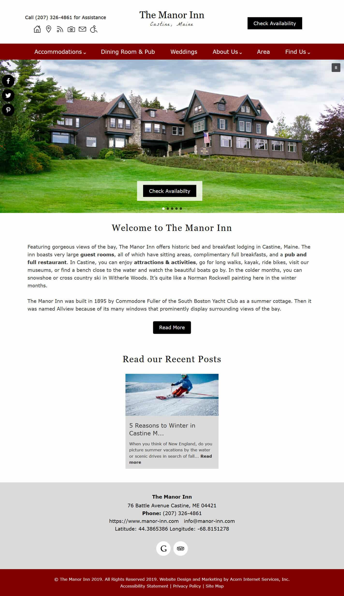 Home page screenshot of The Manor Inn - Standard