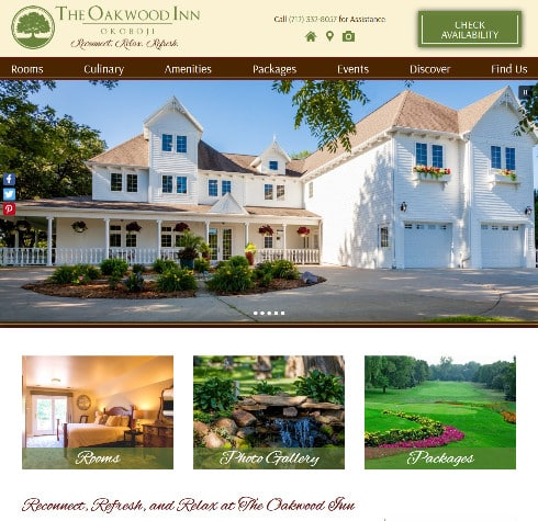 Screenshot of The Oakwood Inn - Deluxe Website