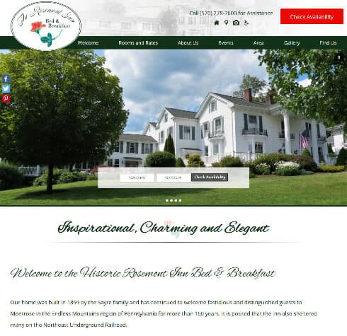 Screenshot of home page for The Rosemont Inn Bed Breakfast