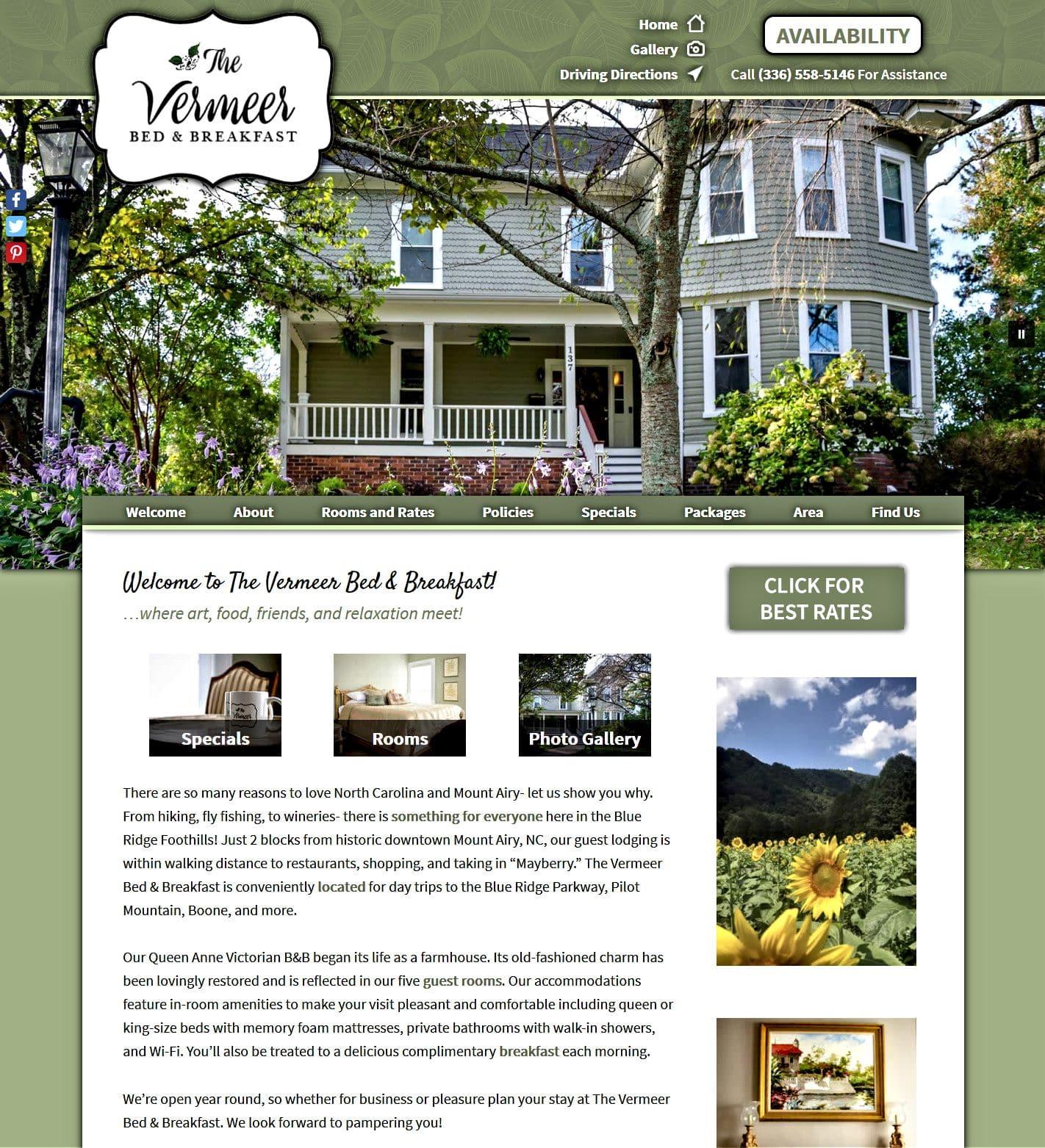 Vermeer Bed and Breakfats website homepage