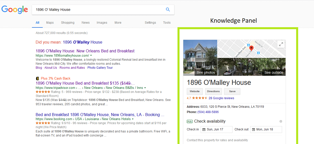 Google's Knowledge Panel for a Branded search