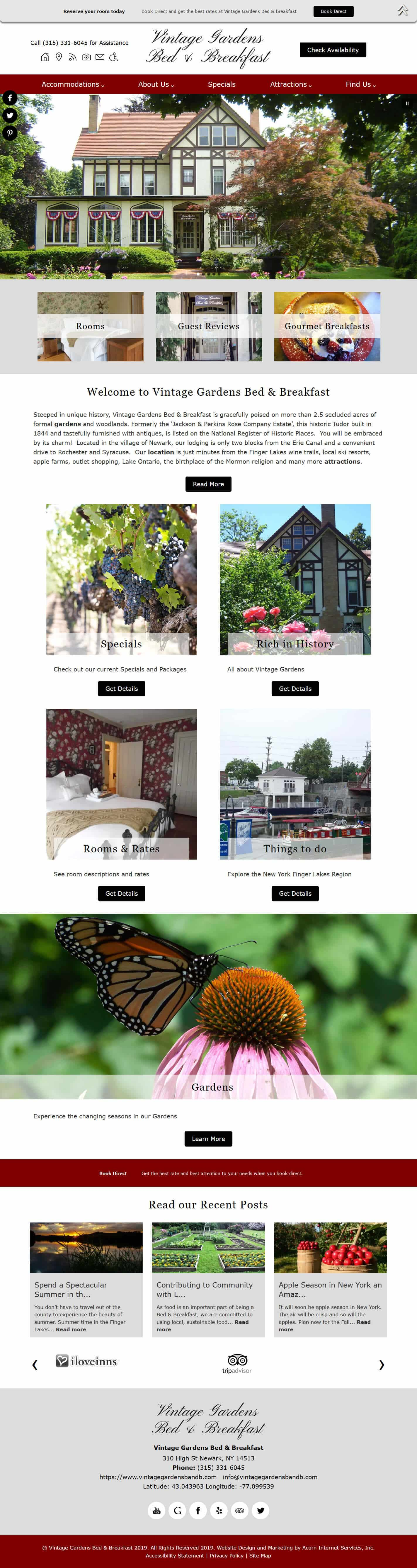 Vintage Gardens Bed Breakfast home page