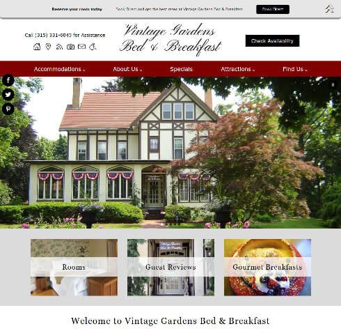 Vintage Gardens Bed Breakfast - Standard ebsite by Acorn Internet Services - Screenshot