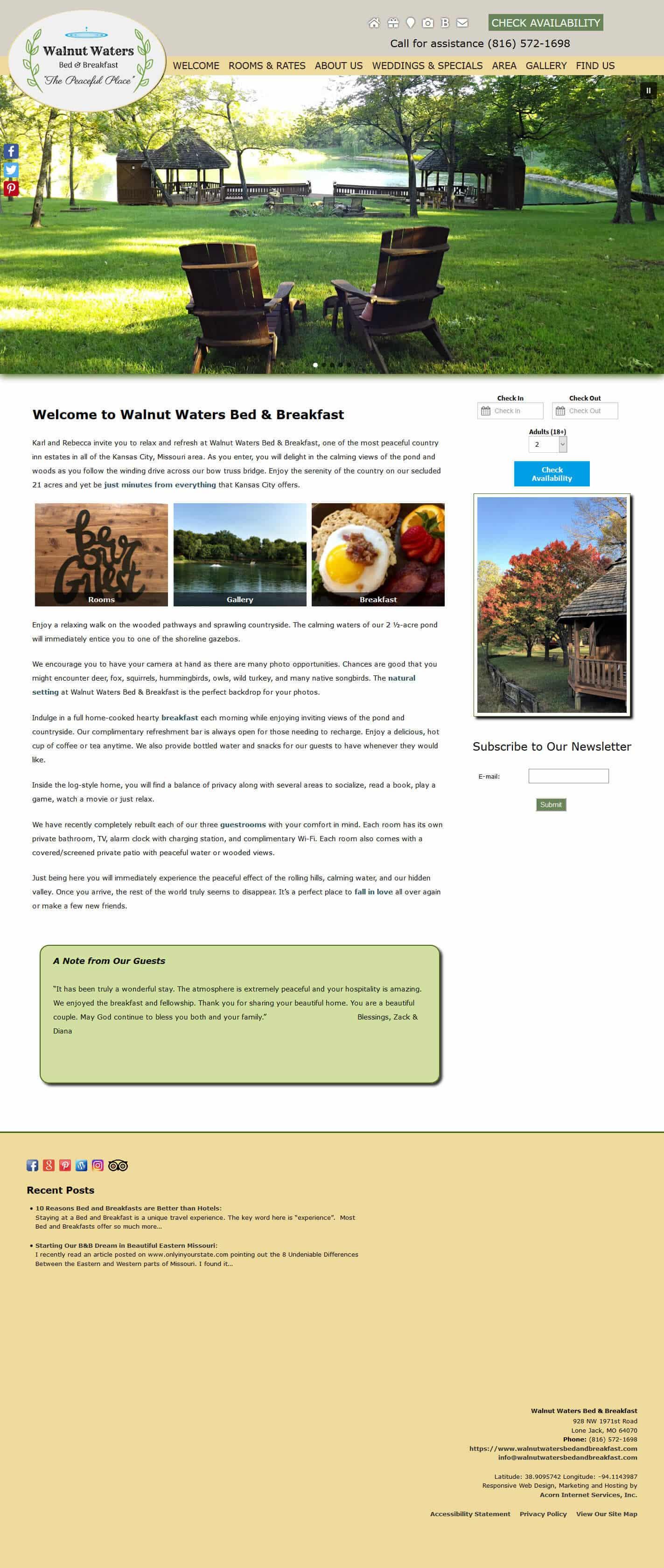 Walnut Waters Bed & Breakfast website home page