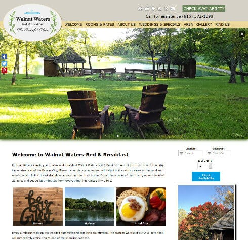 Walnut Waters Bed and Breakfast- screenshot of an Acorn Deluxe Design website