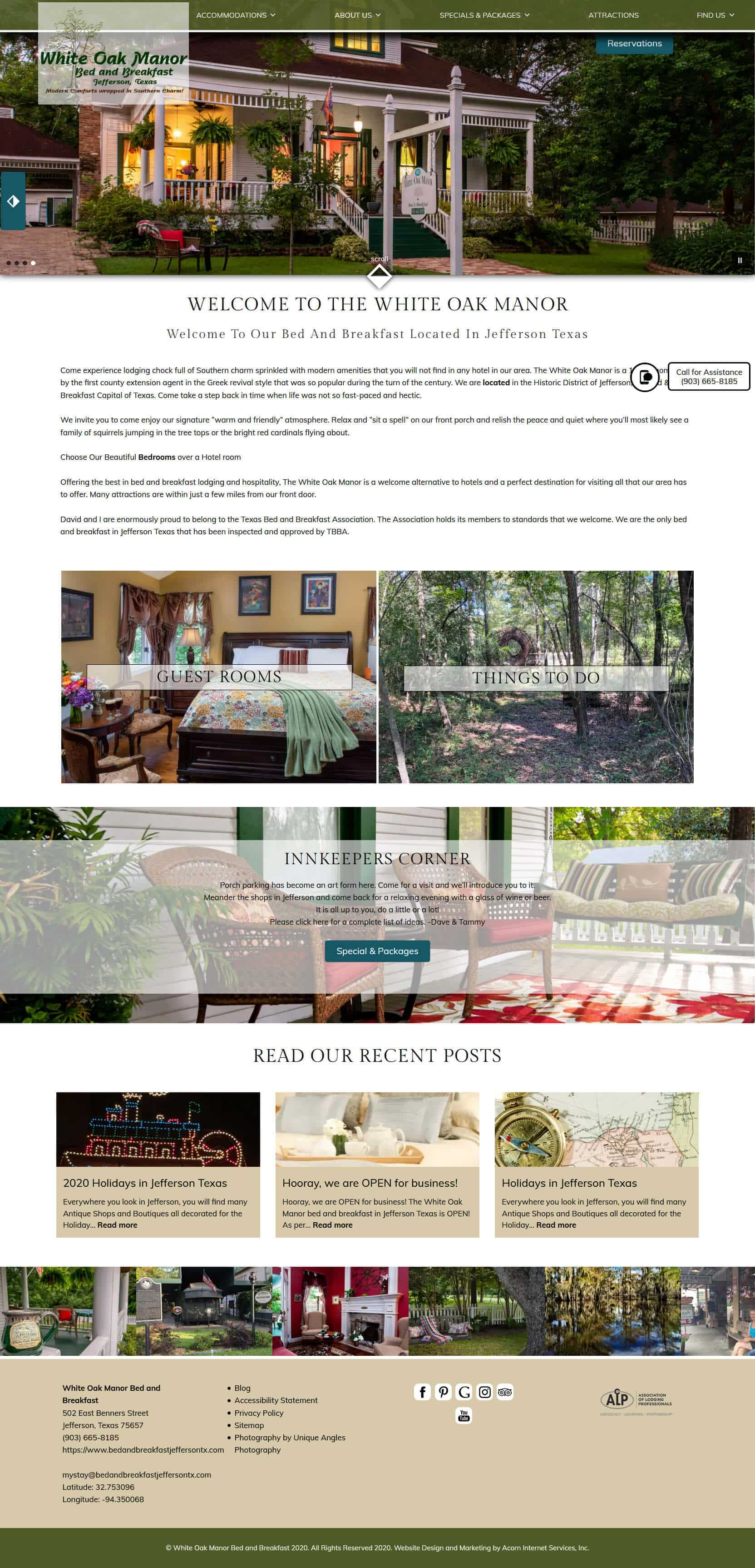 New website home page screencap for White Oak Manor Bed and Breakfast