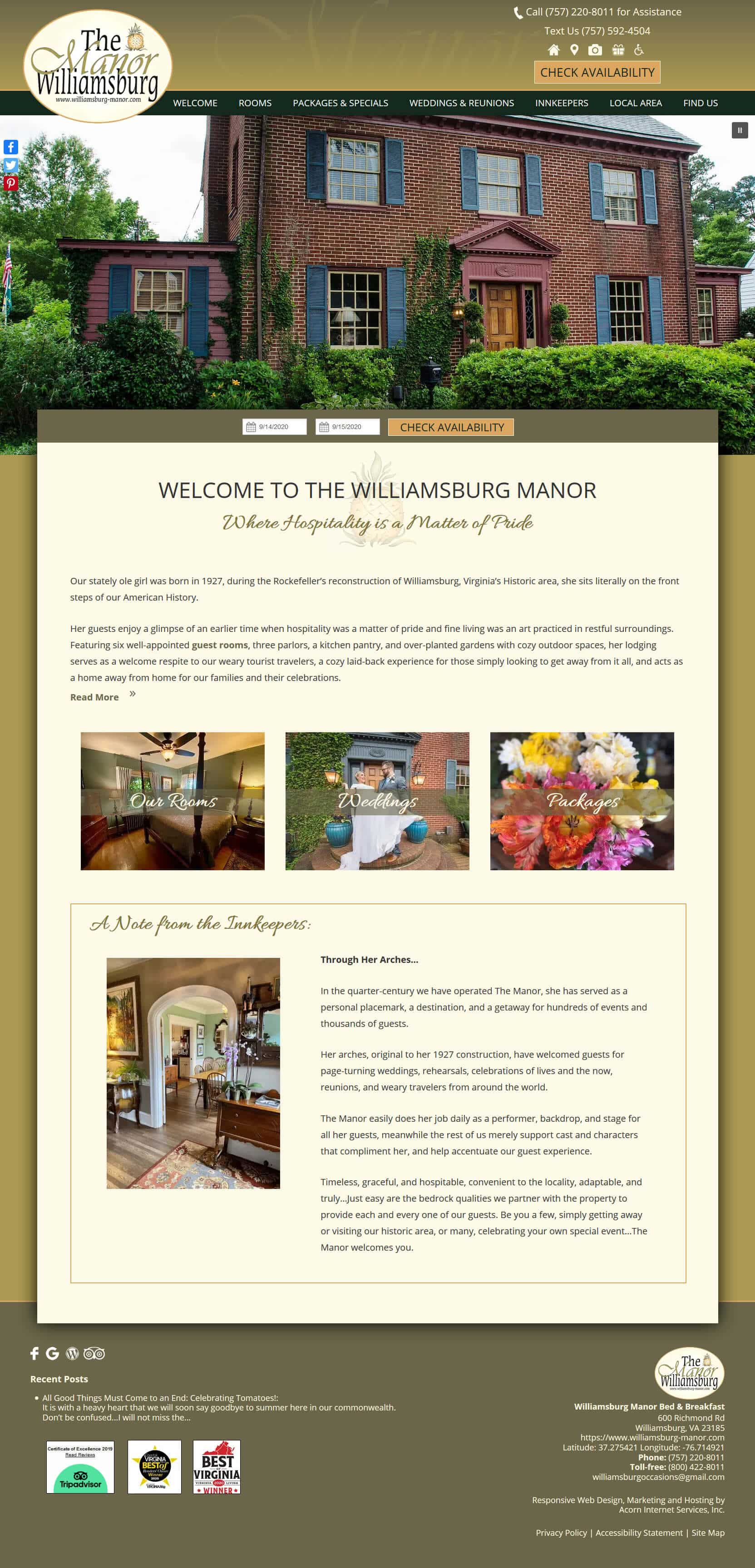 Screenshot of new website for Williamsburg Manor Bed and Breakfast