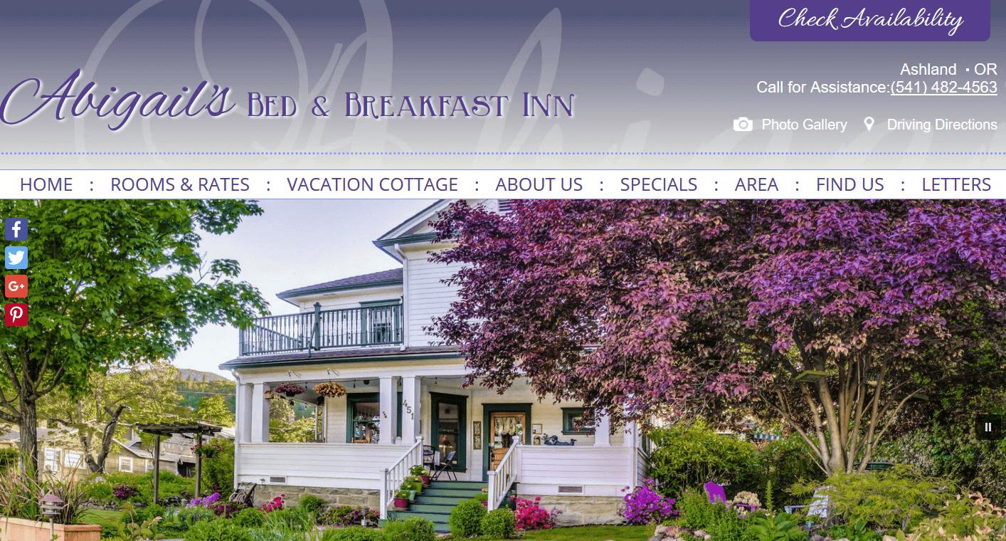 Screencap of Abigail's Bed and Breakfast Inn website