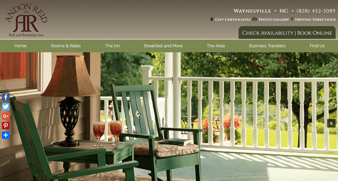 Screenshot of website home page for Andon Reid Inn in Waynesville, NC