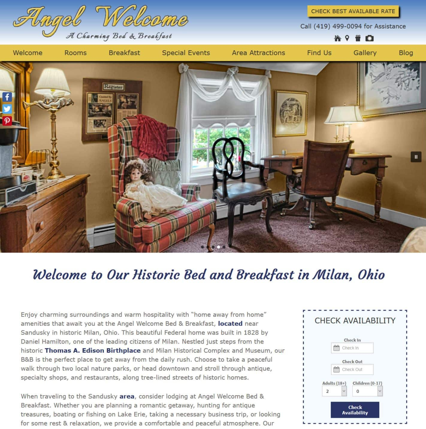 Angel Welcome Bed & Breakfast website home page screenshot