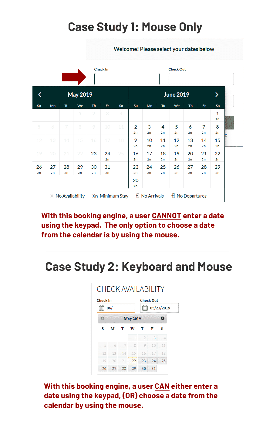 example of 2 booking engines with calendar selection options