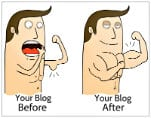 Before and after cartoon of a brown haired man with no muscles and with muscles