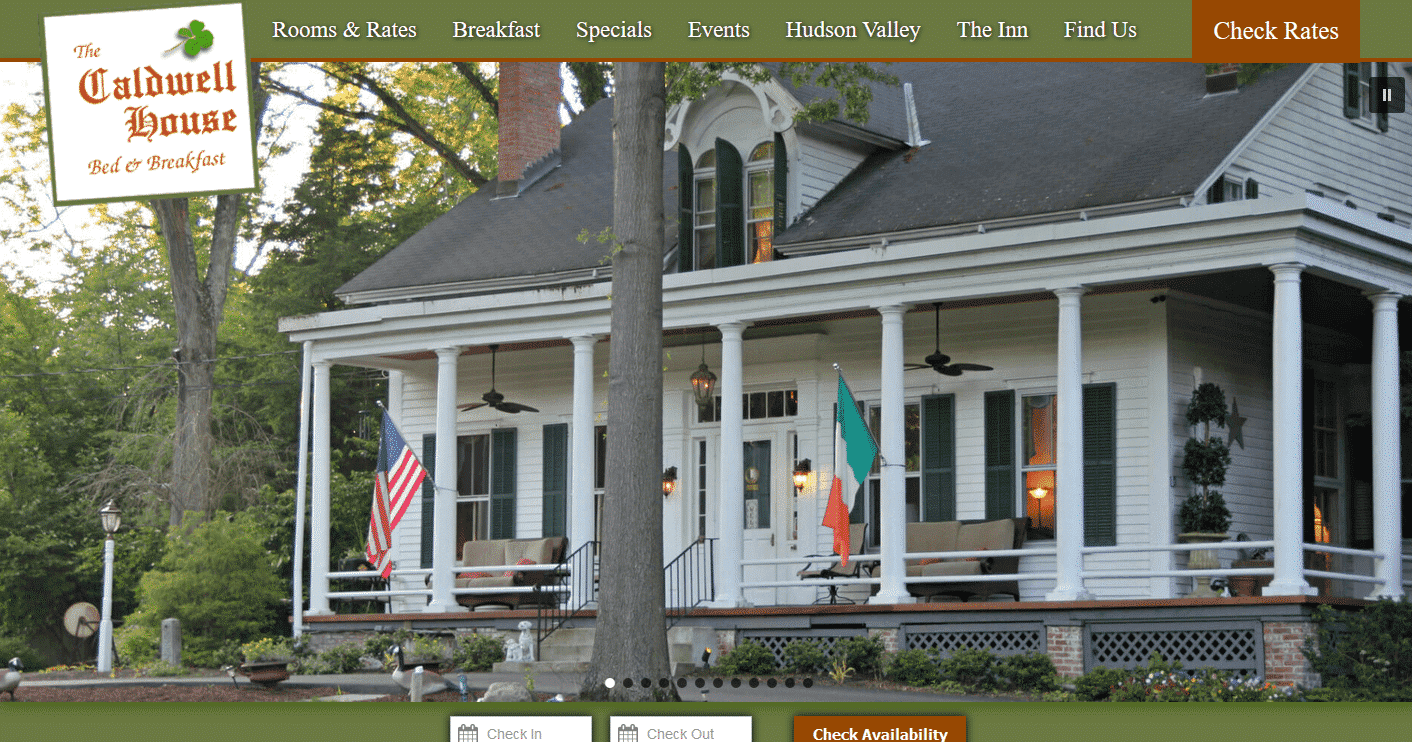 Screencap of the website home page of Caldwell House Bed and Breakfast