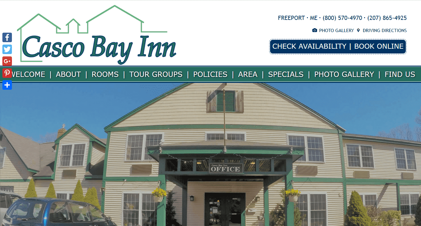 Screenshot of website home page for Casco Bay Inn in Freeport, ME