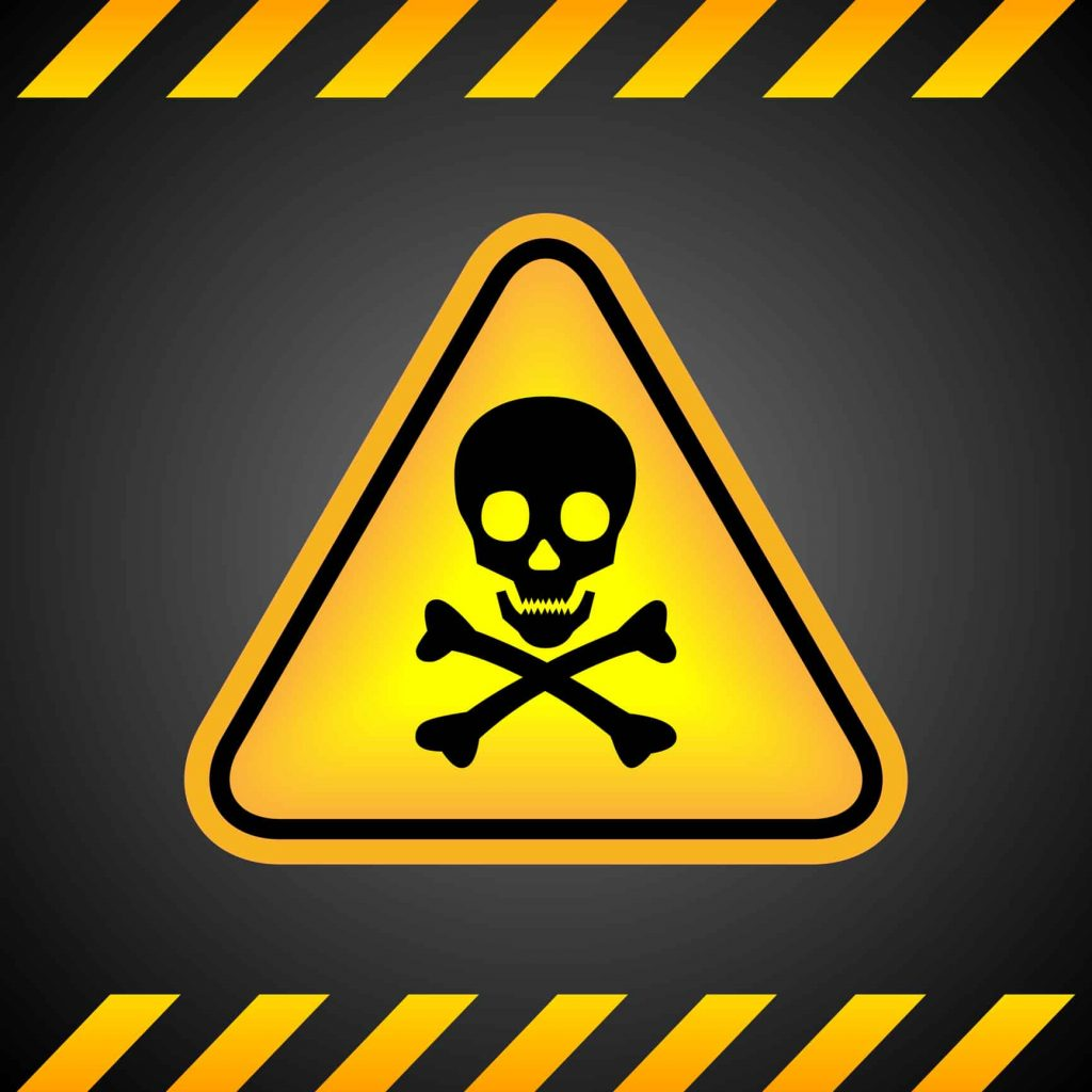 Skull and Crossbones on Yellow Triangle with black background