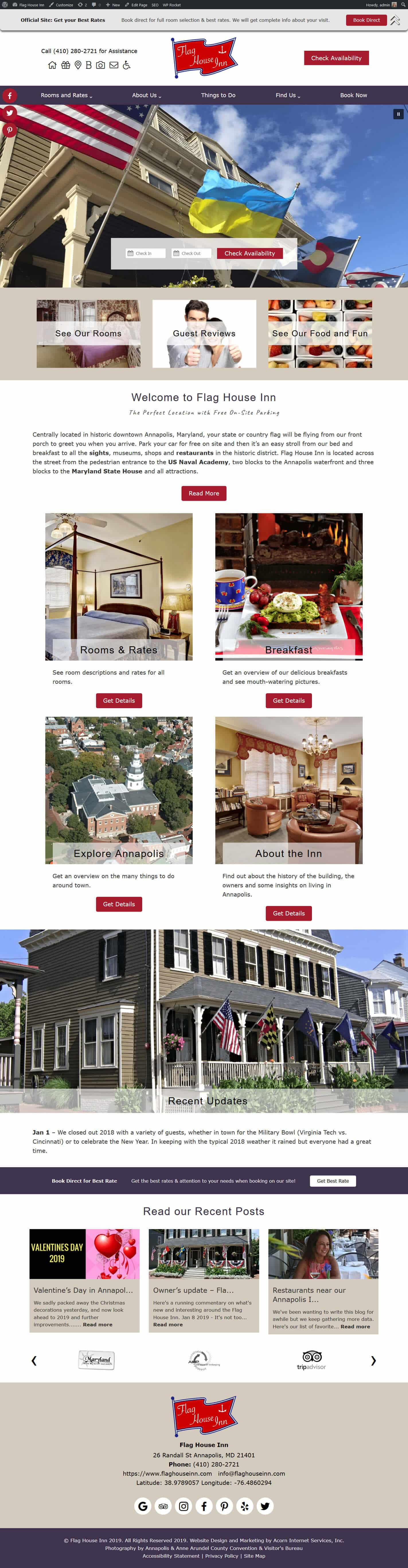 Screenshot of Flag House Inn's website home page