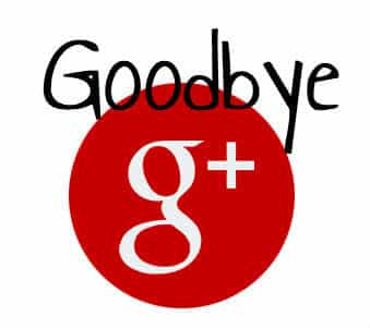 Goodbye Google Plus -red logo on white background