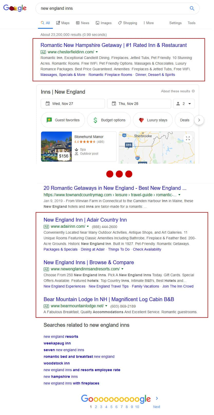 Snapshot showing where Google Ads appear in Google