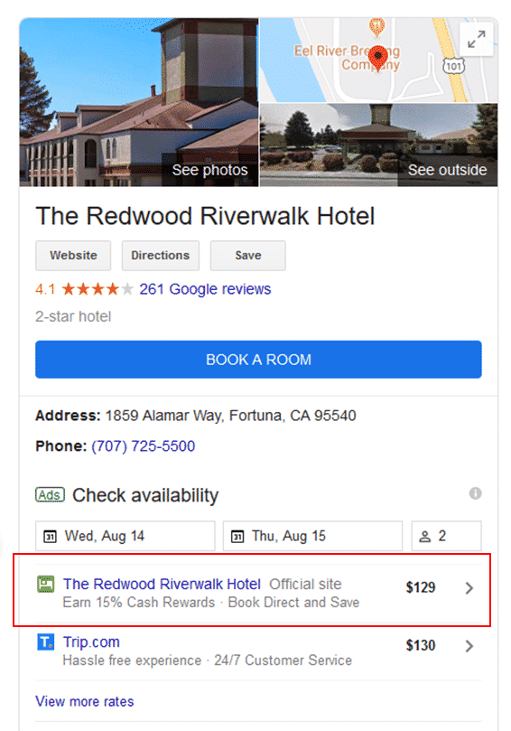 An Example of a Google Hotel Ad with Official Site button