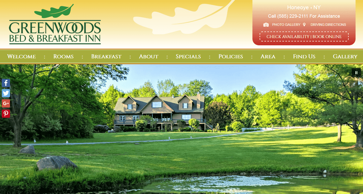 Screenshot of website for Greenwoods Bed and Breakfast Inn
