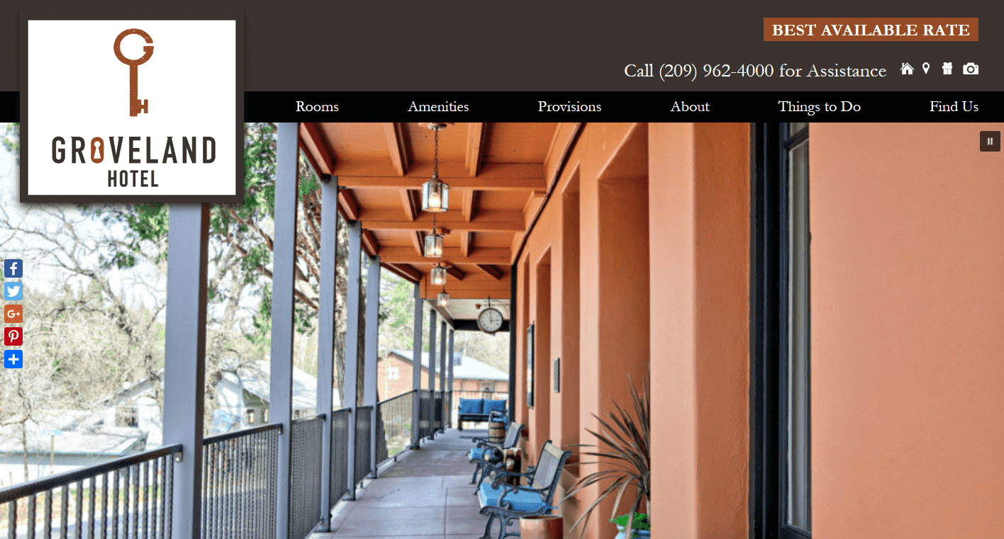 Screenshotof the home page of Yosemite's Groveland Hotel