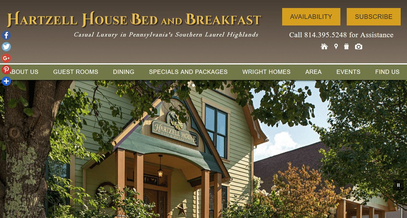 Home Page of Hartzell House Bed & Breakfast website
