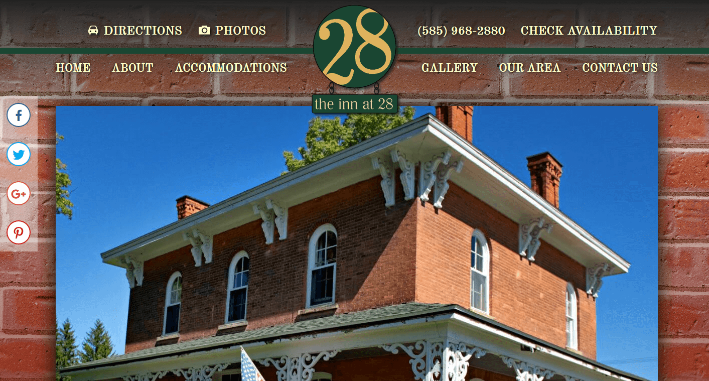 Screenshot of website home page for Inn at 28 in Cuba, NY