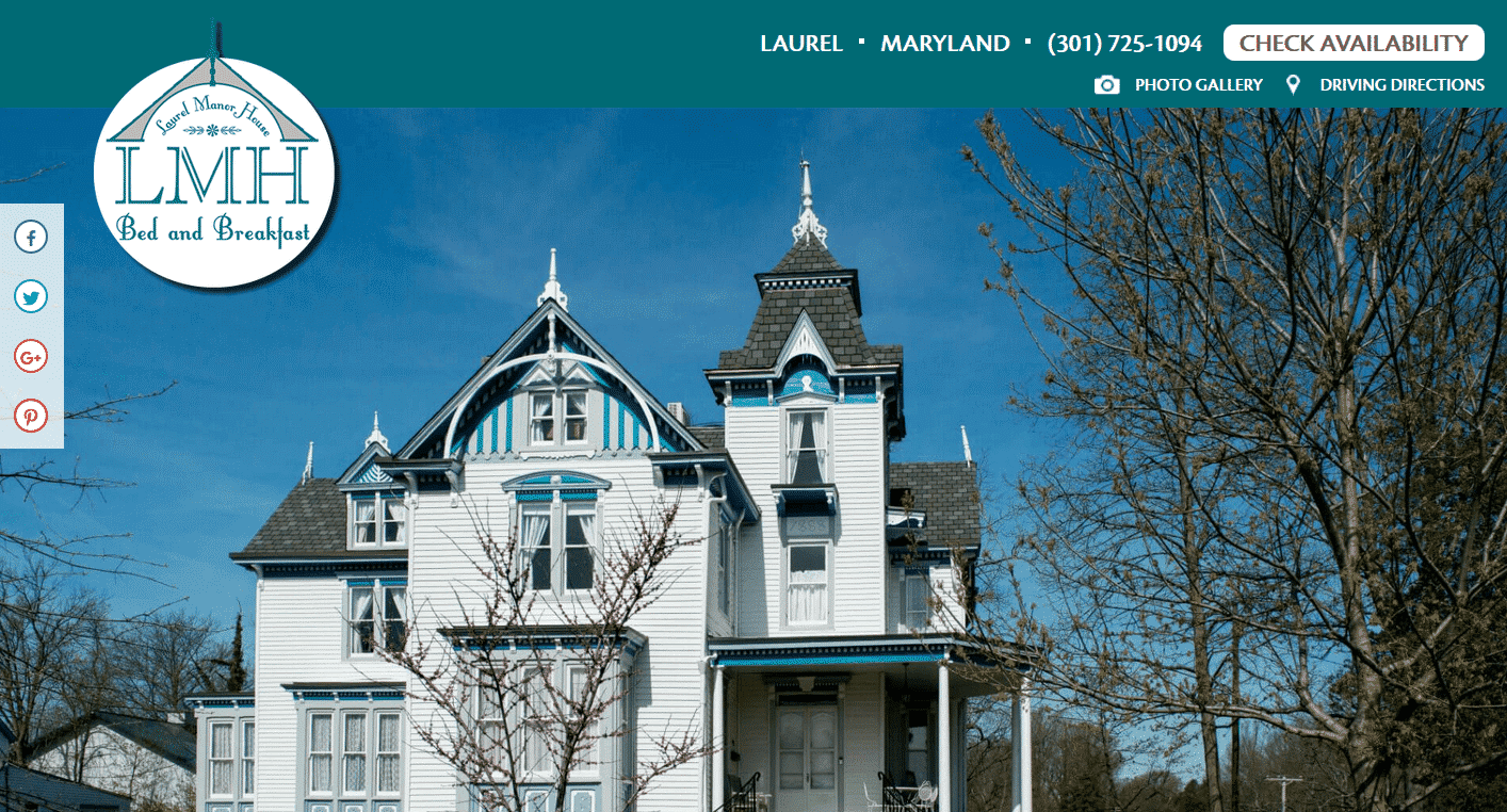 Screenshot of website home page for Laurel Manor House in Laurel, MD