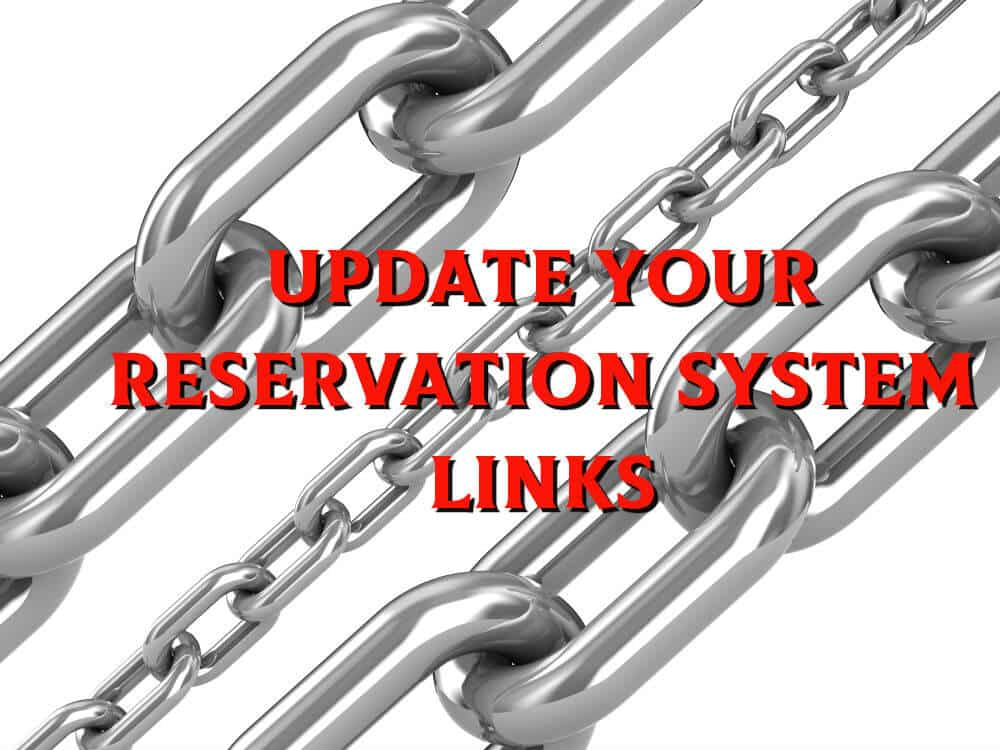 "Shiny Steel Chain Links with words, ""Update Your Reservation System Links"""
