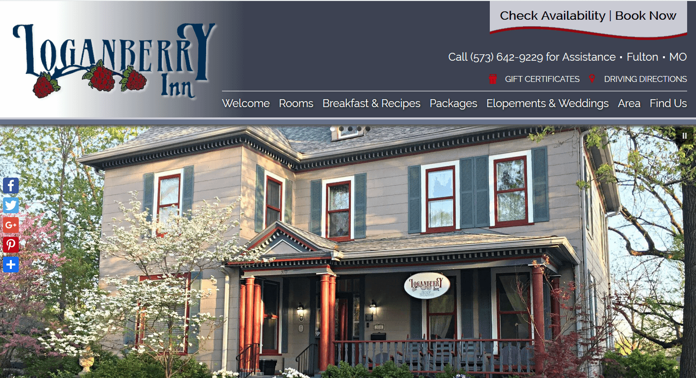 bed and breakfast website Loganberry Inn home page screenshot