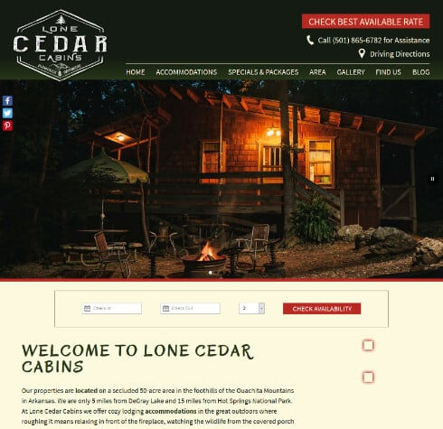 Lone Cedar Cabins Home Page Scrrenshop- example of Acorn Deluxe Design