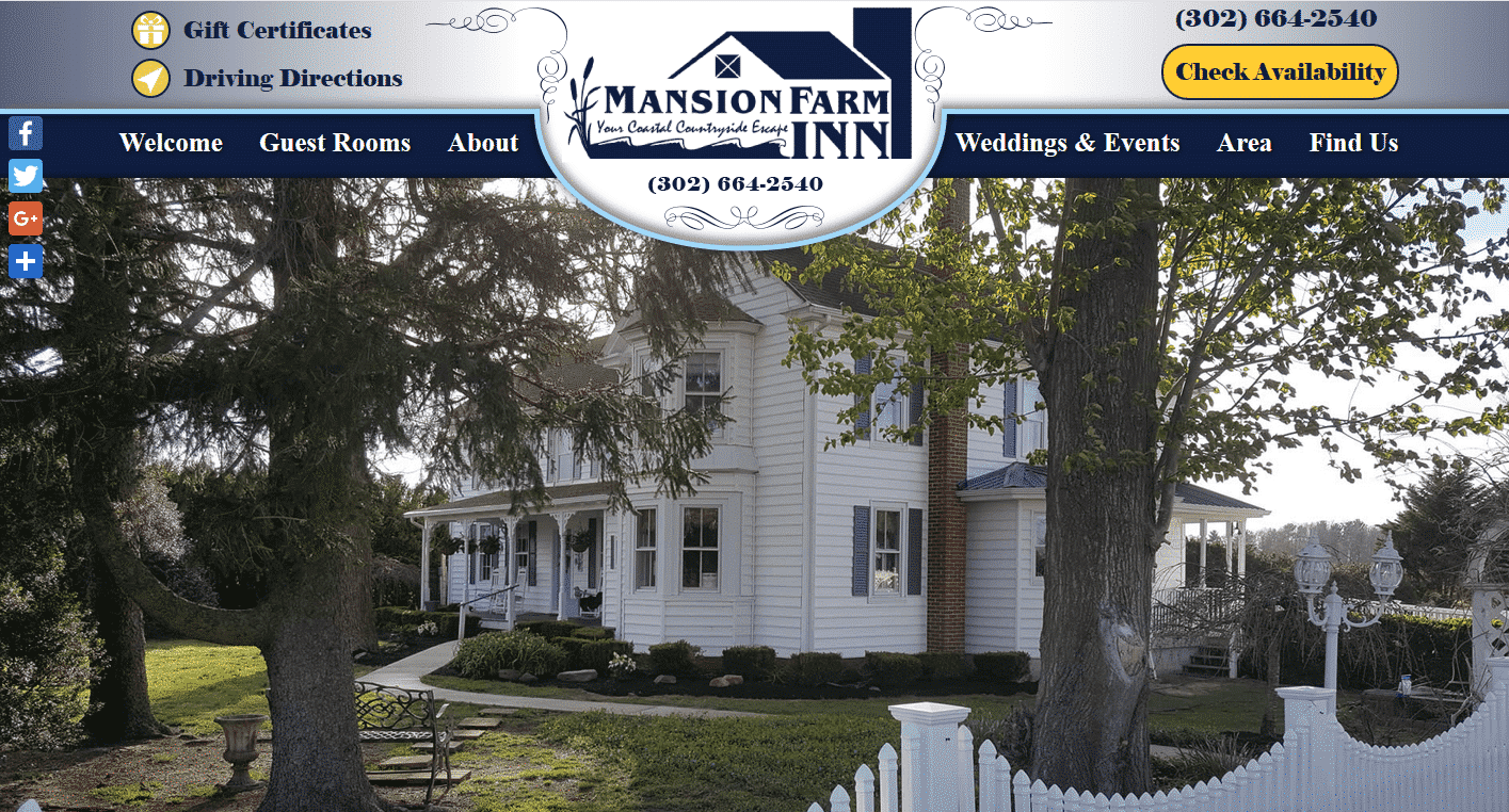 Screenshot of website home page for Mansion Farm Inn in Milton, DE