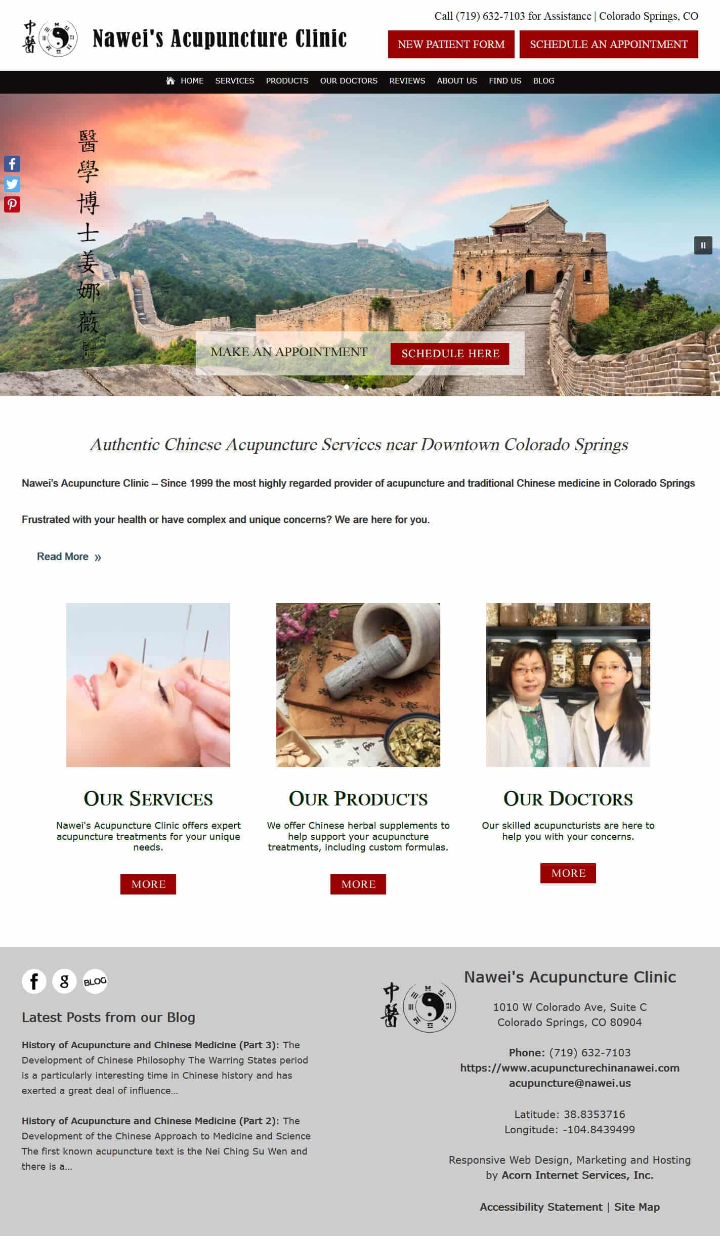 Screenshot of Nawei's Acupuncture Clinic Home page of website
