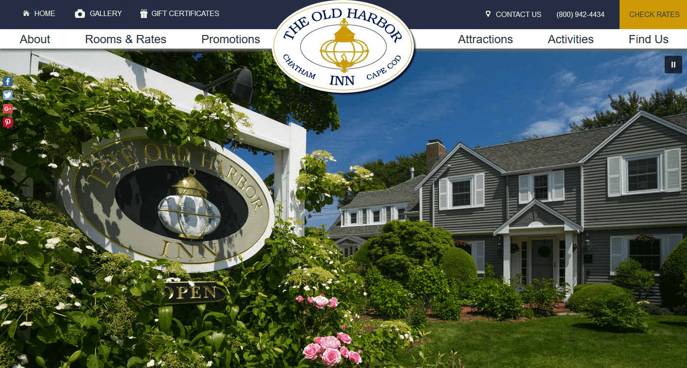 Home page of the Old Harbor Inn's website