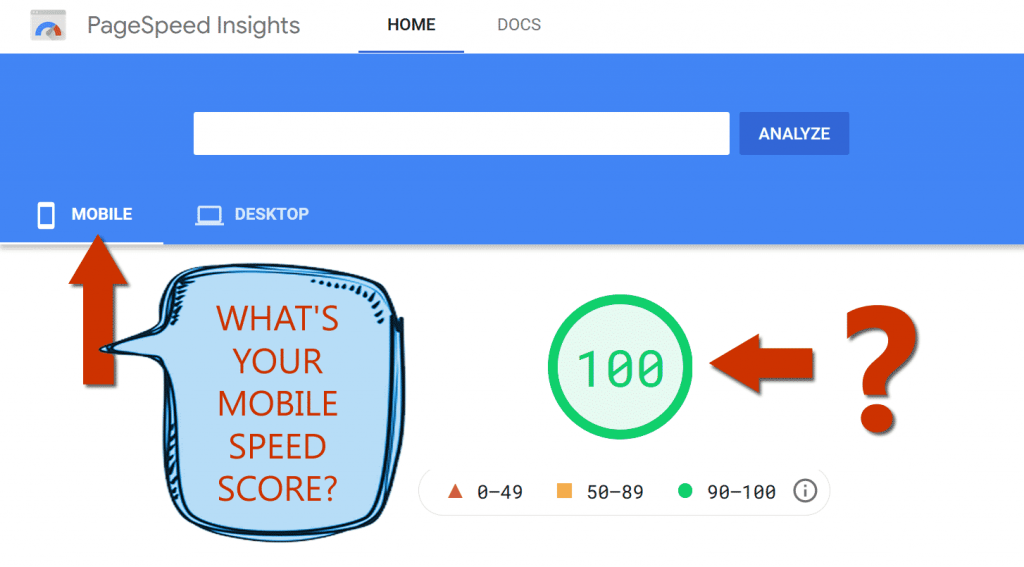 Snapshot of PageSpeed Insights Testing Tool