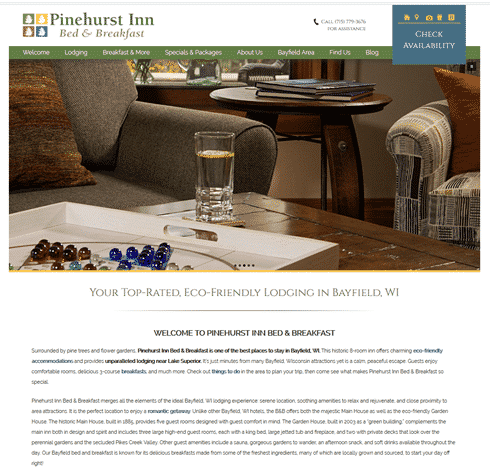 Screencapture of the home page of Pinehurst Inn's website