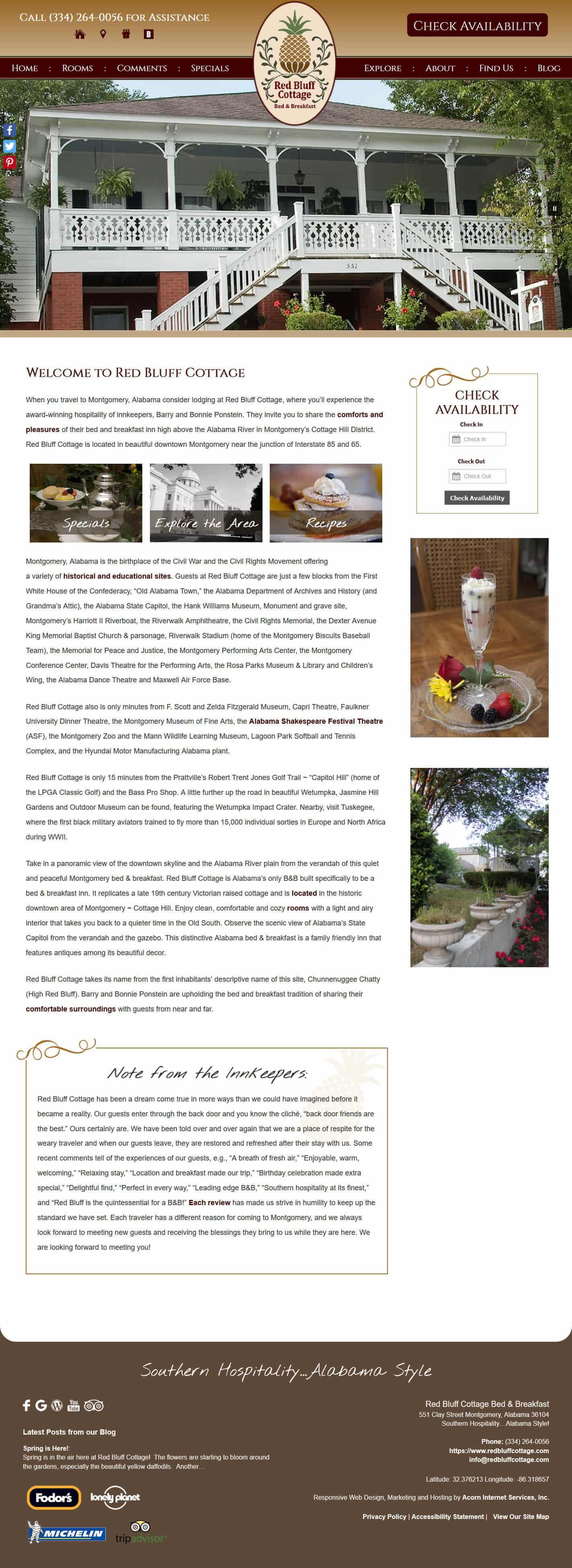 Red Bluff Cottage's Welcome page of their website