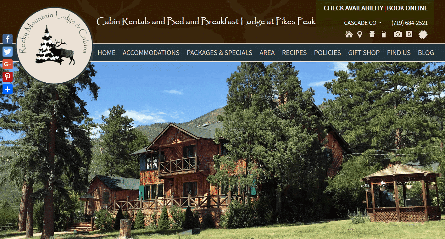 Screenshot of website home page for Rocky Mountain Lodge and Cabins in Cascade, CO