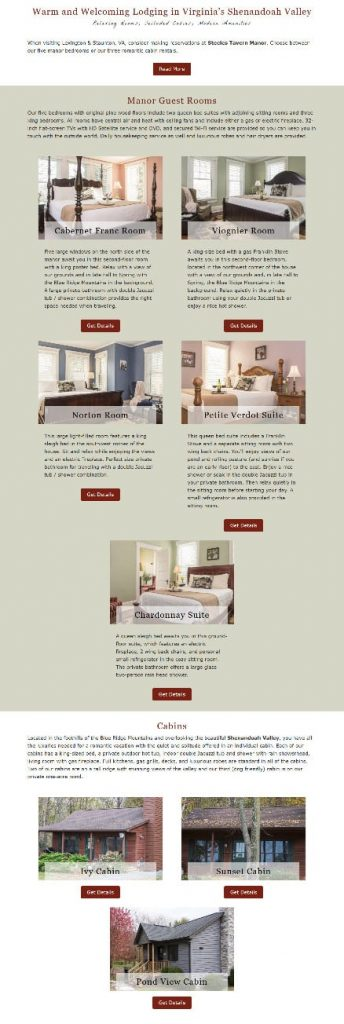 Example of different room types listed on an all-accommodations page
