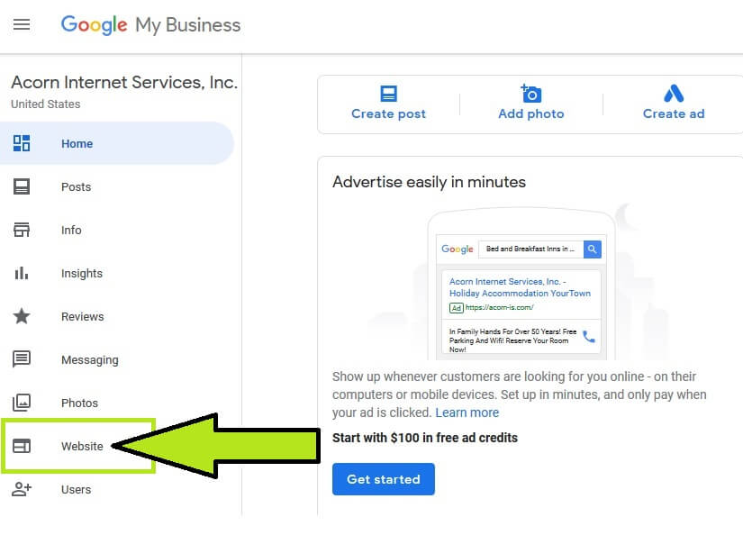 Google My business website tab